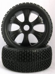 1/8 Buggy tires 6 spoke wheel and T-Beam tire un-mounted 2pairs